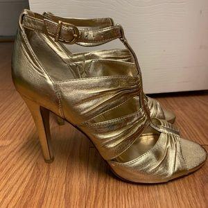 Vince Camuto gold straps sandals